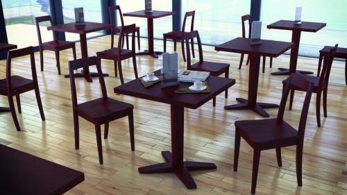 โต๊ะอาหารขาเดียว สีน้ำตาล