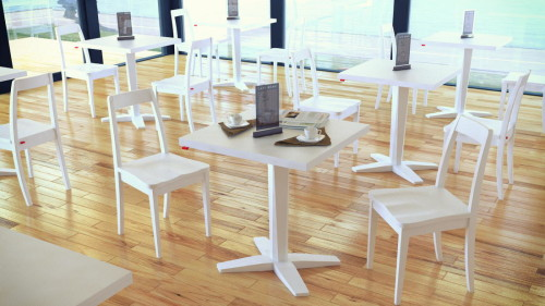 โต๊ะอาหารขาเดียว สีขาว ร้านอาหาร